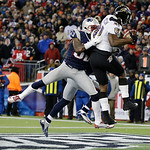 Baltimore Ravens wide receiver Anquan Boldin (81) makes an 11-yard touchdown reception against New England Patriots free safety Devin McCourty during the second half of the NFL football AFC …