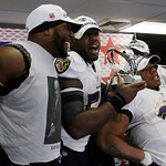From left, Baltimore Ravens inside linebacker Ray Lewis, Terrell Suggs and Ray Rice celebrate after the NFL football AFC Championship football game against the New England Patriots in Foxbor …