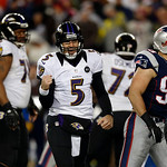 Baltimore Ravens quarterback Joe Flacco (5) reacts during the second half of the NFL football AFC Championship football game against the New England Patriots in Foxborough, Mass., Sunday, Ja …