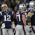 New England Patriots quarterback Tom Brady, left, reacts during the second half of the NFL football AFC Championship football game against the Baltimore Ravens in Foxborough, Mass., Sunday,  &#8230;