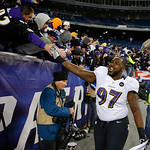 Baltimore Ravens defensive end Arthur Jones shakes hands with fans after the AFC Championship football game against the New England Patriots in Foxborough, Mass., Sunday, Jan. 20, 2013. The  &#8230;