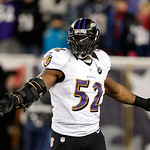Baltimore Ravens inside linebacker Ray Lewis celebrates near the end of the NFL football AFC Championship football game against the New England Patriots in Foxborough, Mass., Sunday, Jan. 20 &#8230;