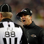 Baltimore Ravens head coach John Harbaugh argues with field judge Scott Steenson during the second half of the NFL football AFC Championship football game in Foxborough, Mass., Sunday, Jan.  &#8230;