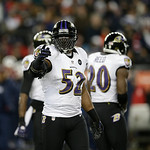 Baltimore Ravens inside linebacker Ray Lewis (52) gestures during the second half of the NFL football AFC Championship football game against the New England Patriots in Foxborough, Mass., Su …