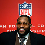 Baltimore Ravens inside linebacker Ray Lewis speaks at a news conference after winning the NFL football AFC Championship football game against the New England Patriots in Foxborough, Mass.,  …