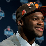 Barkevious Mingo from LSU speaks during a news conference after being selected sixth overall by the Cleveland Browns in the first round of the NFL football draft, Thursday, April 25, 2013, a …