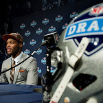 Barkevious Mingo, of Louisiana State, speaks during a news conference after being selected sixth overall by the Cleveland Browns during the first round of the NFL football draft, Thursday, A …