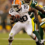 Cleveland Browns' Montario Hardesty runs during the first half of a preseason NFL football game against the Green Bay Packers Thursday, Aug. 16, 2012, in Green Bay, Wis. (AP Photo/Jeffrey Ph …