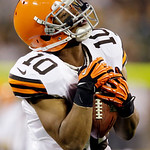 Cleveland Browns wide receiver Jordan Norwood catches a pass during the first half of a preseason NFL football game against the Green Bay Packers Thursday, Aug. 16, 2012, in Green Bay, Wis.  …