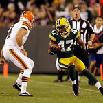 Green Bay Packers' Otis Merrill runs with the ball during the first half of a preseason NFL football game against the Cleveland Browns Thursday, Aug. 16, 2012, in Green Bay, Wis. (AP Photo/J …