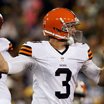Cleveland Browns quarterback Brandon Weeden throws during the first half of a preseason NFL football game against the Green Bay Packers Thursday, Aug. 16, 2012, in Green Bay, Wis. (AP Photo/ …