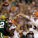 Cleveland Browns' Brandon Weeden throws during the first half of a preseason NFL football game against the Green Bay Packers Thursday, Aug. 16, 2012, in Green Bay, Wis. (AP Photo/Jeffrey Phe …
