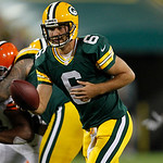 Green Bay Packers quarterback Graham Harrell drops back during the first half of a preseason NFL football game against the Cleveland Browns Thursday, Aug. 16, 2012, in Green Bay, Wis. (AP Ph …