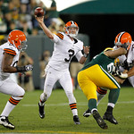 Cleveland Browns' Brandon Weeden throws during the first half of a preseason NFL football game against the Green Bay Packers Thursday, Aug. 16, 2012, in Green Bay, Wis. (AP Photo/Mike Roemer …