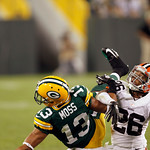 Cleveland Browns' Trevin Wade (26) breaks up a pass intended for Green Bay Packers' Dale Moss (13) during the second half of a preseason NFL football game Thursday, Aug. 16, 2012, in Green B …