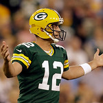 Green Bay Packers' Aaron Rodgers reacts to a call during the first half of a preseason NFL football game against the Cleveland Browns Thursday, Aug. 16, 2012, in Green Bay, Wis. (AP Photo/Je …
