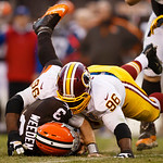 Washington Redskins nose tackle Barry Cofield (96) sacks Cleveland Browns quarterback Brandon Weeden (3) in the fourth quarter of an NFL football game in Cleveland, Sunday, Dec. 16, 2012. (A &#8230;
