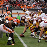 Washington Redskins center Will Montgomery (63) prepares to snap the ball against the Cleveland Browns in the fourth quarter of an NFL football game Sunday, Dec. 16, 2012, in Cleveland. (AP …