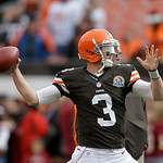 Cleveland Browns quarterback Brandon Weeden warms up before the Browns play the Washington Redskins in an NFL football game Sunday, Dec. 16, 2012, in Cleveland. (AP Photo/Tony Dejak)