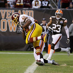 Washington Redskins running back Alfred Morris (46) scores a touchdown against the Cleveland Browns in the fourth quarter of an NFL football game Sunday, Dec. 16, 2012, in Cleveland. (AP Pho …