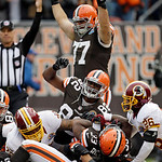Cleveland Browns guard John Greco (77) and tight end Benjamin Watson (82) celebrate as running back Trent Richardson (33) scores on a 6-yard run against the Washington Redskins in the first  …