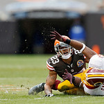 Cleveland Browns cornerback Joe Haden (23) breaks up a pass intended for Washington Redskins wide receiver Pierre Garcon in the first quarter of an NFL football game in Cleveland, Sunday, De …
