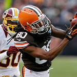 Cleveland Browns wide receiver Travis Benjamin (80) catches a pass in front of Washington Redskins cornerback DJ Johnson (30) and goes 69 yards for a touchdown in the fourth quarter of an NF …
