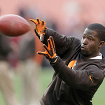 Cleveland Browns wide receiver Mohamed Massaquoi warms up before the Browns play the Washington Redskins in an NFL football game Sunday, Dec. 16, 2012, in Cleveland. (AP Photo/Tony Dejak)