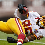 Washington Redskins wide receiver Leonard Hankerson tumbles into the end zone after a 54-yard touchdown catch against the Cleveland Browns in the first quarter of an NFL football game in Cle …