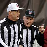Back judge Bob Waggoner, right, talks to referee Bill Vinovich after a review of a touchdown by Cleveland Browns' Trent Richardson in the second quarter of an NFL football game against the W …