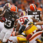 Cleveland Browns running back Trent Richardson (33) runs against the Washington Redskins in the third quarter of an NFL football game Sunday, Dec. 16, 2012, in Cleveland. (AP Photo/Rick Osen …