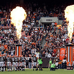 The Cleveland Browns take the field for an NFL football game against the Washington Redskins Sunday, Dec. 16, 2012, in Cleveland. (AP Photo/Mark Duncan)