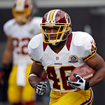 Washington Redskins running back Alfred Morris warms up before an NFL football game against the Cleveland Browns Sunday, Dec. 16, 2012, in Cleveland. (AP Photo/Mark Duncan)