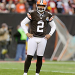 Cleveland Browns punter Reggie Hodges waits for action to resume during an NFL football game against the Washington Redskins Sunday, Dec. 16, 2012, in Cleveland. (AP Photo/Tony Dejak)