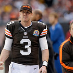 Cleveland Browns quarterback Brandon Weeden roams the sidelines in the fourth quarter of an NFL football game against the Washington Redskins Sunday, Dec. 16, 2012, in Cleveland. (AP Photo/T …
