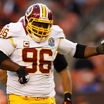 Washington Redskins nose tackle Barry Cofield (96) celebrates his sack of Cleveland Browns quarterback Brandon Weeden, not pictured, in the fourth quarter of an NFL football game in Clevelan …
