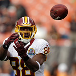 Washington Redskins wide receiver Pierre Garcon warms up before an NFL football game against the Cleveland Browns Sunday, Dec. 16, 2012, in Cleveland. (AP Photo/Mark Duncan)