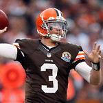 Cleveland Browns quarterback Brandon Weeden passes against the Washington Redskins in the third quarter of an NFL football game on Sunday, Dec. 16, 2012, in Cleveland. (AP Photo/Rick Osentos …