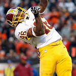 Washington Redskins running back Alfred Morris celebrates after an 8-yard touchdown run against the Cleveland Browns in the fourth quarter of an NFL football game in Cleveland, Sunday, Dec.  …