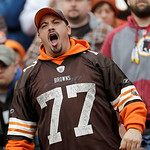 A Cleveland Browns fan reacts during an NFL football game against the Washington Redskins Sunday, Dec. 16, 2012, in Cleveland. (AP Photo/Tony Dejak)