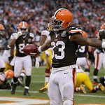 Cleveland Browns running back Trent Richardson celebrates after a 1-yard touchdown run against the Washington Redskins in the second quarter of an NFL football game Sunday, Dec. 16, 2012, in &#8230;