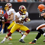 Washington Redskins' Richard Crawford (39) returns a punt against Cleveland Browns linebacker Craig Robertson, right, in the second quarter of an NFL football game Sunday, Dec. 16, 2012, in …