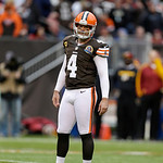 Cleveland Browns kicker Phil Dawson waits for action to resume during an NFL football game against the Washington Redskins Sunday, Dec. 16, 2012, in Cleveland. (AP Photo/Tony Dejak)