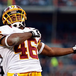 Washington Redskins running back Alfred Morris celebrates after scoring on a 3-yard touchdown run against the Cleveland Browns in the third quarter of an NFL football game in Cleveland, Sund &#8230;