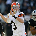Cleveland Browns quarterback Brandon Weeden (3) passes against the Oakland Raiders during the first quarter of an NFL football game, Sunday, Dec. 2, 2012, in Oakland, Calif. (AP Photo/Tony A …