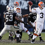 Cleveland Browns quarterback Brandon Weeden (3) passes against the Oakland Raiders during the second half of an NFL football game in Oakland, Calif., Sunday, Dec. 2, 2012. The Browns won 20- …