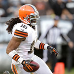Cleveland Browns wide receiver Josh Cribbs (16) against the Oakland Raiders during the second half of an NFL football game in Oakland, Calif., Sunday, Dec. 2, 2012. (AP Photo/Tony Avelar)