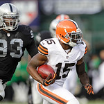 Cleveland Browns wide receiver Greg Little (15) runs against the Oakland Raiders during the first half of an NFL football game in Oakland, Calif., Sunday, Dec. 2, 2012. (AP Photo/Tony Avelar …