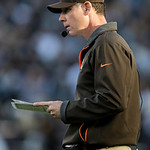 Cleveland Browns head coach Pat Shurmur watches during the third quarter of an NFL football game against the Oakland Raiders in Oakland, Calif., Sunday, Dec. 2, 2012. (AP Photo/Marcio Jose S …