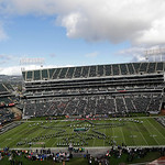 The pre-game ceremony at O.co Coliseum is shown before an NFL football game between the Oakland Raiders and the Cleveland Browns in Oakland, Calif., Sunday, Dec. 2, 2012. (AP Photo/Marcio Jo …